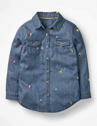 Boden Embroidered Denim Shirt