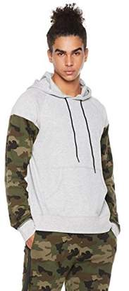 Rebel Canyon Men's Young Fr Terry Long Sleeve Color Blocked Pullover Hoody with Front Pouch Pocket