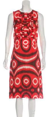 Tory Burch Silk Abstract Print Midi Dress