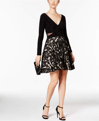 Xscape Evenings Illusion Cutout Fit & Flare Dress