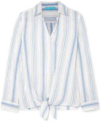 Melissa Odabash Inny Striped Cotton-gauze Shirt - Blue