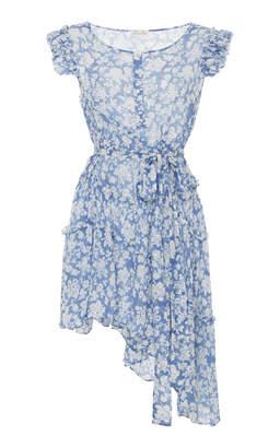 LoveShackFancy Gabby Asymmetric Floral Mini Dress