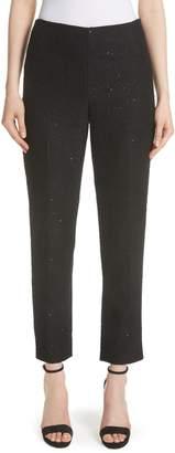 Lela Rose Sequin Embroidered Tweed High Waist Pants