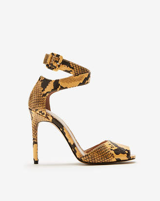 Express Snake Print Square Toe Heeled Sandal