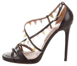 Tabitha Simmons Leather Ankle-Strap Sandals Black Leather Ankle-Strap Sandals