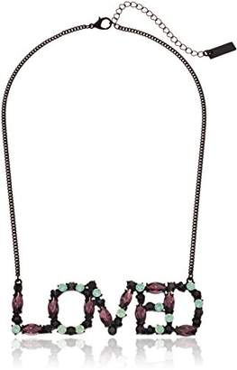 Steve Madden IP Plated Crystal Loved Design Curb Chain Choker Necklace