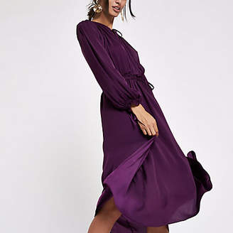 River Island Purple tie neck shirred midi dress