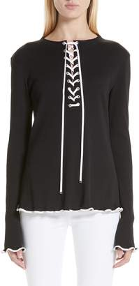 Adeam Ribbed Lace Up Henley