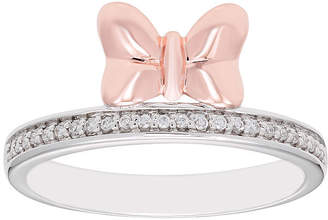 DISNEY CLASSICS Disney Classics Disney Classics Womens 1/8 CT. T.W. Genuine Diamond 14K Rose Gold Over Silver Minnie Mouse Band
