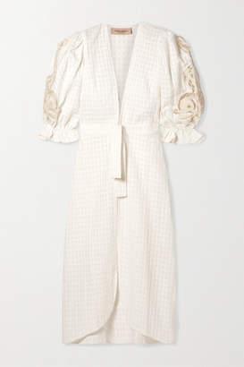 Adriana Degreas - Porto Broderie Anglaise-trimmed Cotton-jacquard Robe - White