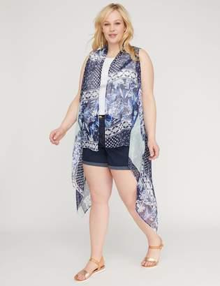 Print Mix Chiffon Vest