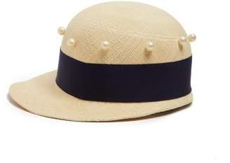 Federica Moretti - Joe Faux Pearl Embellished Cap - Womens - Blue Multi