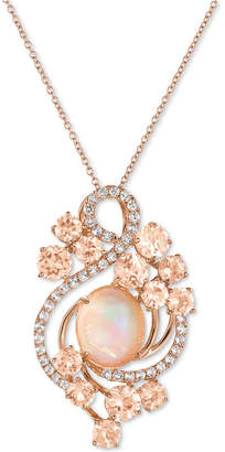 LeVian Le Vian Crazy Collection Neapolitan Opal (2-9/10 ct. t.w.), Peach Morganite (3-2/5 ct. t.w.) and White Topaz (7/10 ct. t.w.) Pendant Necklace in 14k Rose Gold, Created for Macy's