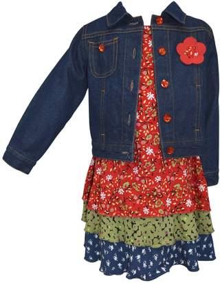 Girls 4-6x Blueberi Boulevard Tiered Floral Dress & Denim Jacket Set