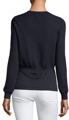 Neiman Marcus Open-Weave Silk/Cashmere Cardigan