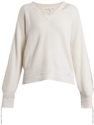 Helmut Lang V Neck Cotton Blend Sweater - Womens - Ivory