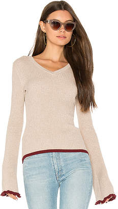 Autumn Cashmere Ribbed Bell Sleeve Sweater in Taupe $176 thestylecure.com