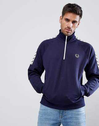 Fred Perry Sports Authentic Taped Half Zip Jacket In Navy
