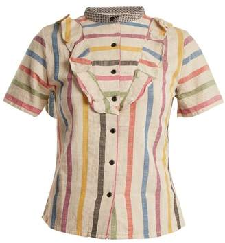 Ace&Jig Fiona Ruffle Trimmed Striped Cotton Blouse - Womens - Beige Multi