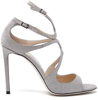 Jimmy Choo Lang 100 Glitter Covered Leather Sandals - Womens - Silver