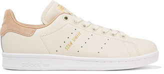 adidas Originals - Stan Smith Suede-trimmed Leather Sneakers - Off-white $100 thestylecure.com