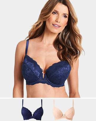 Pretty Secrets 2 Pack Katie Blush/Navy Lace Plunge Bras