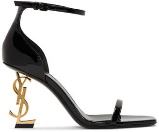 Saint Laurent Black and Gold Patent Opyum Sandals