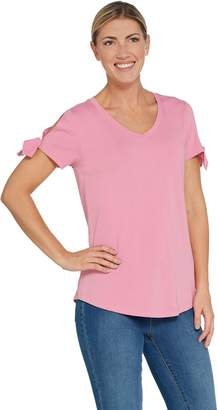 Isaac Mizrahi Live! Knit V-Neck Top with Tie Sleeve Detail