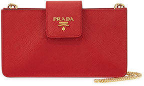 prada Prada Saffiano Phone Crossbody Bag