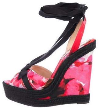 Christian Louboutin Satin Wedge Sandals