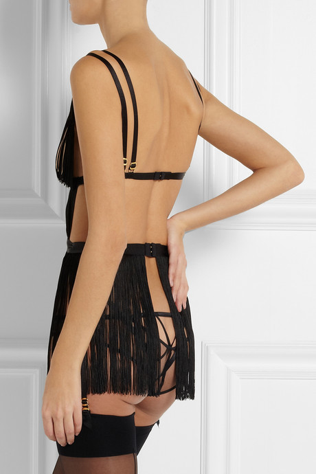 Agent Provocateur Tigre fringed tulle playsuit