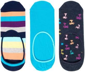 Happy Socks Men's 3PK Dot, Stripe, Plain Trainer Liner