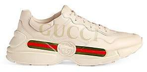 Gucci Men's Rhyton Logo Leather Sneakers