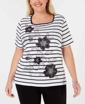 Alfred Dunner Plus Size Cayman Islands Striped Embellished Top