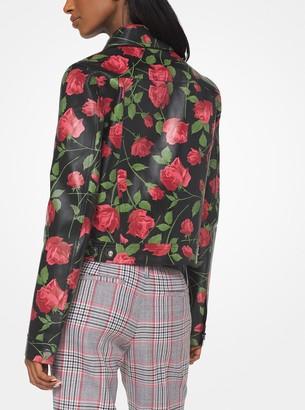 Michael Kors Rose Bonded Plonge Leather Jacket