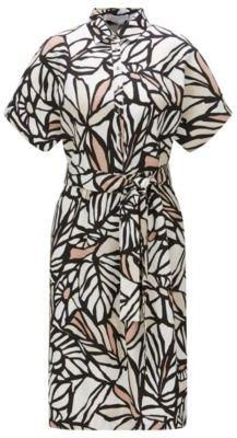 Hugo Boss Holera Printed Viscose Linen Shirt Dress 10 Patterned $575 thestylecure.com