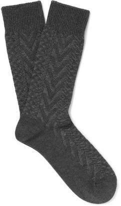 Mr P. Chevron Mélange Cotton-Blend Socks