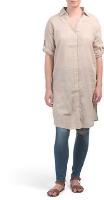 Long Button Front Linen Blend Tunic Top