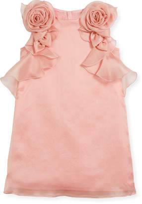 Neiman Marcus Charabia Silk Organdy Sheath Sleeveless Dress w/ Rosettes & Ruffles, Size 4-8