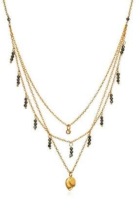 Satya Jewelry Pyrite & White Topaz Plate Petal Triple Chain Pendant Necklace
