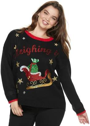 "It's Our Time Its Our Time Juniors' Plus Size Sleighing It"" Christmas Sweater"