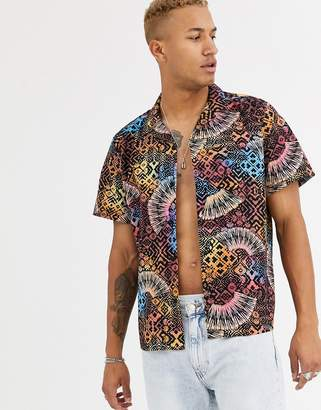 Asos Design DESIGN relaxed fit shirt in tropical aztec print