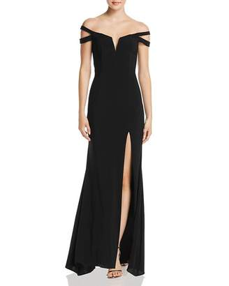 Aqua Double-Strap Off-the-Shoulder Gown - 100% Exclusive