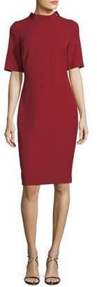 Badgley Mischka Turn-Lock Elbow-Sleeve Sheath Dress