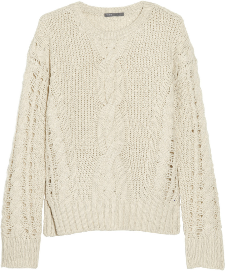 Vince Cable-knit wool-blend cropped sweater