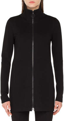 Akris Punto Mock-Neck Milano-Knit Zip-Front Cardigan
