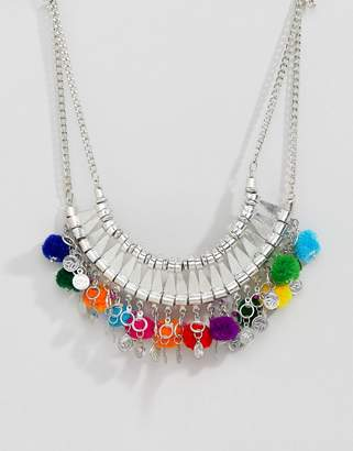 Asos Design DESIGN Statement Engraved Collar Necklace With Pom Poms