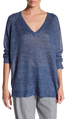 Eileen Fisher V-Neck Linen Sweater $188 thestylecure.com