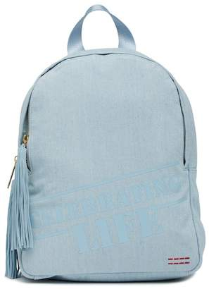 Peace Love World Celebrating Life Denim Backpack
