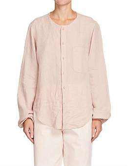 Bassike Washed Linen Collarless Shirt